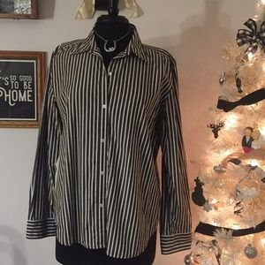 Brown/White Stripe Chap's Button Up XL